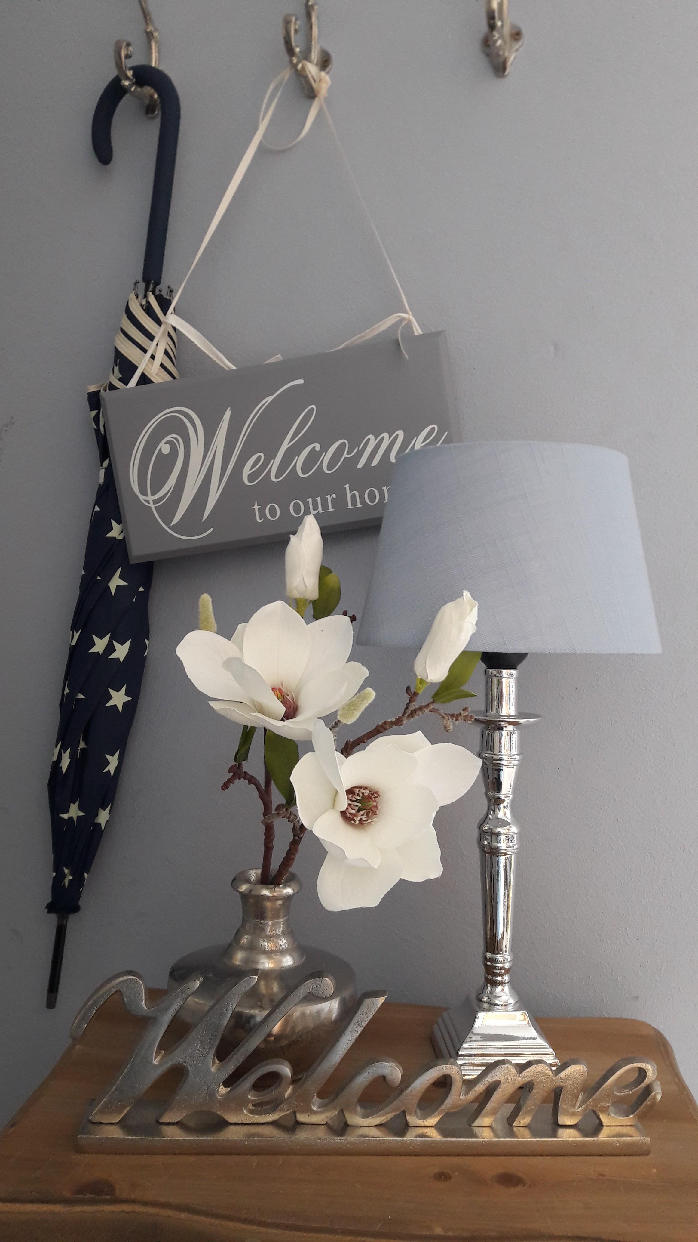 """""""Welcome"""" Schriftzug Aluminium"""