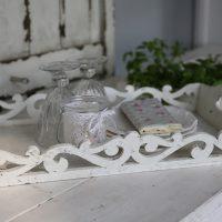 Tablett mit Musterkante Antik Weiß