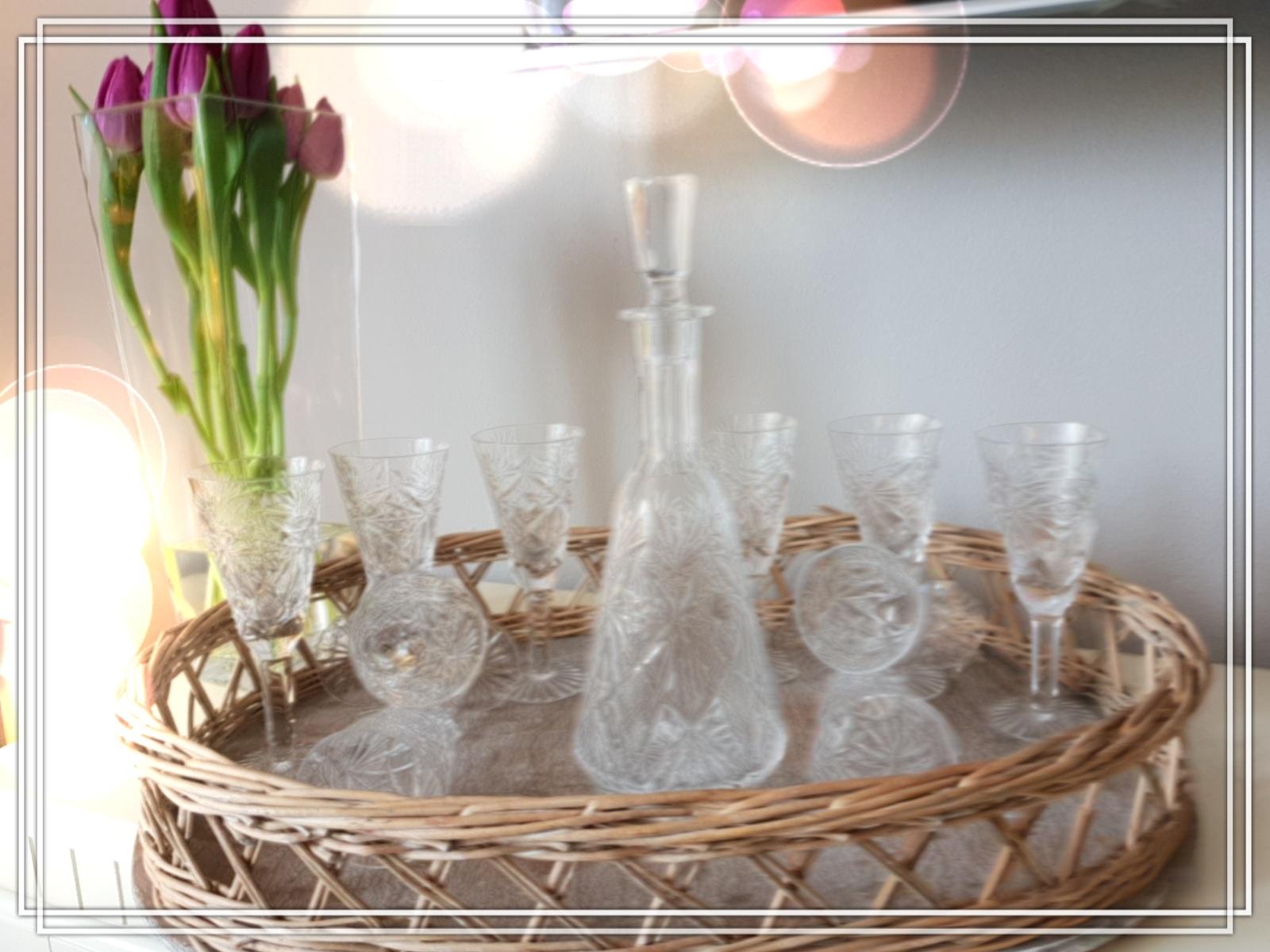 Kristall Sektgläser mit Karaffe